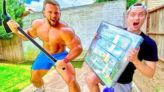 WORLDS STRONGEST MAN vs $100,000 UNBREAKABLE BOX!!