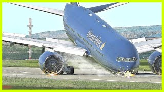 B777 Vietnam Airlines Front Wheel Jam Emergency Landing - (HD)