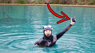 FOUND LOST PHONE SCUBA DIVING IN POND!! (MONSTER WARNING)