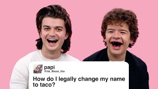 Stranger Things' Gaten Matarazzo and Joe Keery Give Advice to Strangers on the Internet | Glamour