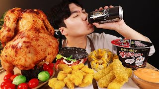 ENG SUB) ASMR MUKBANG hamburger & FRIED CHICKEN & FIRE Noodle & CHEESE STICK & beer EATING SOUND